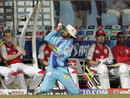 Punjab players look on as Harbhajan  Singh juggles the ball before hanging on to a catch from Wilkin Mota, Kings XI Punjab v Mumbai Indians, IPL, Centurion, May 12, 2009