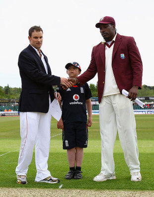 Andrew Strauss and Chris Gayle shake hands at the toss on the first morning at Chester-le-Street, England v West Indies, 2nd Test, Chester-le-Street, May 14, 2009