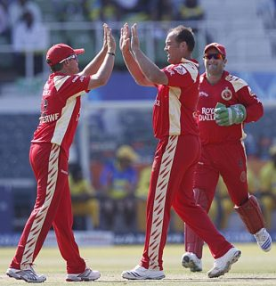 Jacques Kallis celebrates one of his two wickets, Chennai Super Kings v Royal Challengers Bangalore, IPL, Durban, May 14, 2009