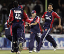 Pradeep Sangwan runs in to celebrate Yuvraj Singh's dismissal with team-mates, Delhi Daredevils v Kings XI Punjab, 46th match, IPL, Bloemfontein, May 15, 2009