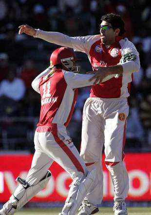 Yuvraj Singh can't conceal his emotion after another hat-trick, Deccan Chargers v Kings XI Punjab, IPL, 49th match, Johannesburg, May 17, 2009