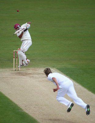 The ball balloons off Ramnaresh Sarwan's glove as Stuart Broad digs one in, England v West Indies, 2nd Test, Chester-le-Street, 4th day, May 17, 2009
