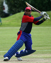 Adil Hanif smashes it through the off side, Bahrain v Gibraltar, ICC World Cricket League Division 7, Castel, May 19, 2009