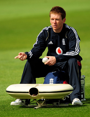 Eoin Morgan feeds balls into the bowling machine as England warm-up for the first ODI against West Indies, Headingley, April 20, 2009