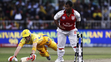 Ramesh Powar watches as George Bailey is run out