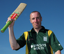 Jeremy Frith celebrates his hundred, Guernsey v Nigeria, ICC World Cricket League Division 7, St Peter Port, May 21, 2009
