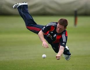 Eoin Morgan throws himself around during training, Bristol, May 23, 2009