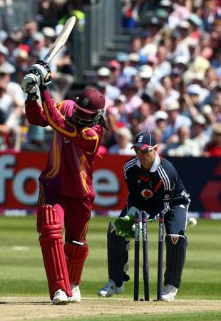 Chris Gayle is bowled by Graeme Swann after a brisk 31, England v West Indies, 2nd ODI, Bristol, May 24, 2009