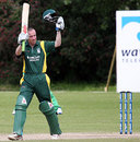 Jeremy Frith celebrates after scoring a century, Guernsey v Suriname, ICC World Cricket League Division Seven, Castel, May 23, 2009
