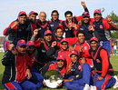 Bahrain celebrate their World Cricket League Division Seven title, Guernsey v Bahrain, ICC World Cricket League Division Seven, final, Castel, May 24, 2009