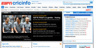 Cricinfo re-design screenshot, May 29, 2009