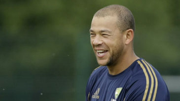 A happy Andrew Symonds at a training session in Nottingham