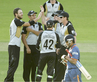 Daniel Vettori celebrates Rohit Sharma's wicket with team-mates, India v New Zealand, ICC World Twenty20 warm-up match, Lord's, June 1, 2009