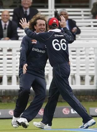 Ryan Sidebottom celebrates his catch to remove Shivnarine Chanderpaul, England v West Indies, ICC World Twenty20 warm-up, Lord's, June 3, 2009