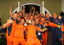Dutch celebrations continue ... in the England dressing-room after their dramatic last-ball win, England v Netherlands, ICC World Twenty20, Lord's, June 5, 2009