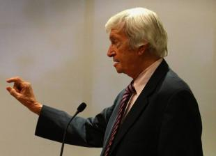 Richie Benaud addresses a gathering at the launch of 'Inside Story: Unlocking Australian Cricket's Archives', Melbourne, Australia, October 22, 2007