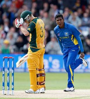 Angelo Mathews celebrates his early wicket of David Warner, Australia v Sri Lanka, ICC World Twenty20, Trent Bridge, June 8, 2009