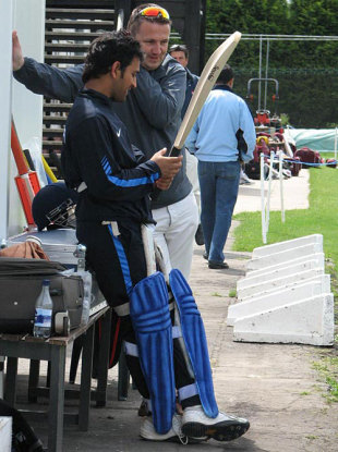 MS Dhoni inspects a bat, ICC World Twenty20, Trent Bridge, June 8, 2009