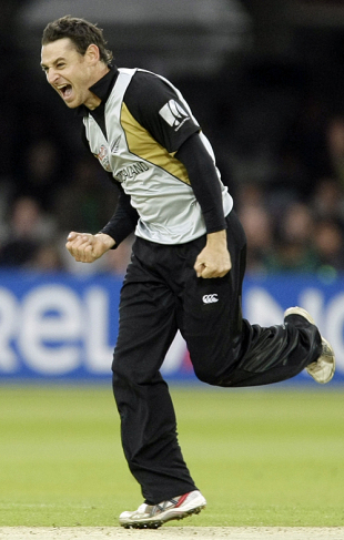 Nathan McCullum is pumped up after dismissing Roelof van der Merwe, New Zealand v South Africa, ICC World Twenty20, Lord's, June 9, 2009