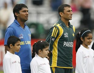 Kumar Sangakkara and Younis Khan stand alongside each other for the national anthems, Pakistan v Sri Lanka, ICC World Twenty20 Super Eights, Lord's, June 12, 2009