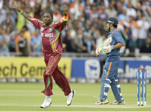 Fidel Edwards celebrates the dismissal of Rohit Sharma, India v West Indies, ICC World Twenty20 Super Eights, Lord's, June 12, 2009