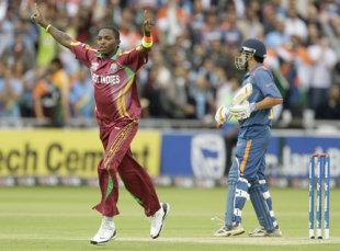 Fidel Edwards celebrates the dismissal of Rohit Sharma, India v West Indies, ICC World Twenty20 Super Eights, Lord's, June 12, 2009