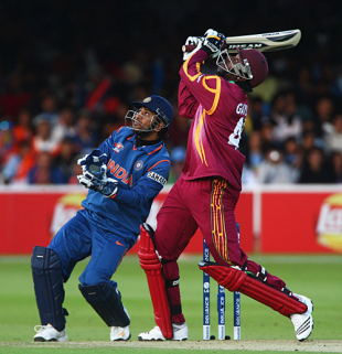 Chris Gayle top edges Yusuf Pathan, India v West Indies, ICC World Twenty20 Super Eights, Lord's, June 12, 2009