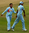 Priyanka Roy celebrates with Jhulan Goswami, India v Pakistan, ICC Women's World Twenty20, Taunton, June 13, 2009