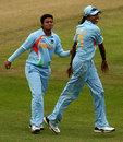Priyanka Roy celebrates with Jhulan Goswami, India v Pakistan, ICC Women's World Twenty20, Taunton, June 13, 2009
