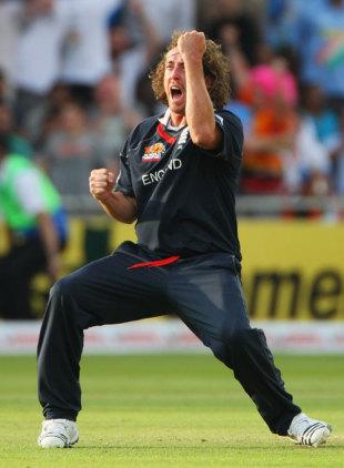 Ryan Sidebottom is elated after dismissing Suresh Raina, England v India, ICC World Twenty20 Super Eights, Lord's, June 14, 2009
