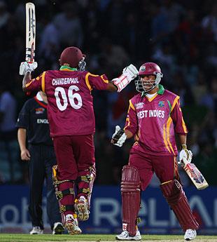 Shivnarine Chanderpaul and Ramnaresh Sarwan celebrate West Indies reaching the semi-finals, England v West Indies, ICC World Twenty20, The Oval, June 15, 2009