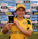 Shelley Nitschke poses with the Player-of-the-Match award, ICC Women's World Twenty20, Australia v South Africa, Taunton, June 16, 2009