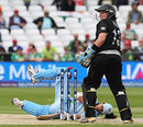 Amita Sharma knocks her stumps in trying to evade a high full toss, India v New Zealand, 1st semi-final, ICC Women's World Twenty20, Trent Bridge, June 18, 2009