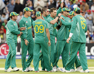 Dale Steyn celebrates Kamran Akmal's dismissal with team-mates, Pakistan v South Africa, ICC World Twenty20, 1st semi-final, Trent Bridge, June 18, 2009