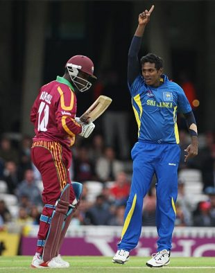 Angelo Mathews celebrates his first wicket, Sri Lanka v West Indies, ICC World Twenty20, 2nd semi-final, The Oval, June 19, 2009