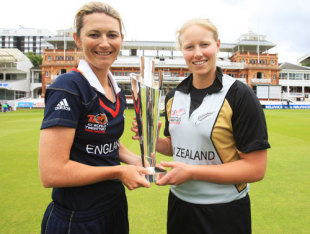 Captains Charlotte Edwards and Aimee Watkins pose with the ICC Women's World Twenty20 trophy before the final, ICC Women's World Twenty20