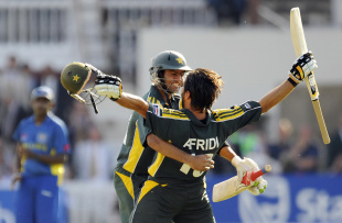 Shahid Afridi and Shoaib Malik celebrate the win, Pakistan v Sri Lanka, ICC World Twenty20 final, Lord's, June 21, 2009