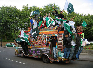Pakistan fans ride a bus through the streets celebrating their win, Pakistan v Sri Lanka, ICC World Twenty20 final, Lord's, June 21, 2009