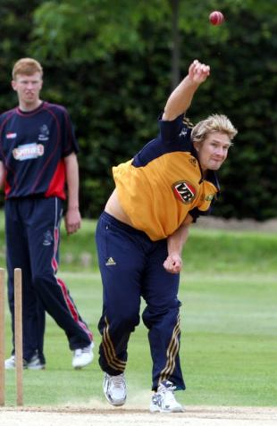 Shane Watson sends down a delivery during a training session, Beckenham, June 18, 2009