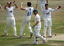 Pepler Sandri is congratulated on the wicket of Phil Hughes, Sussex v Australians, Hove, June 24, 2009