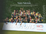 Victorious Pakistan team with the Trophy