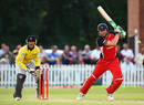 Andrew Flintoff forces powerfully off the back foot, Derbyshire v Lancashire, Twenty20 Cup, Derby, June 25, 2009