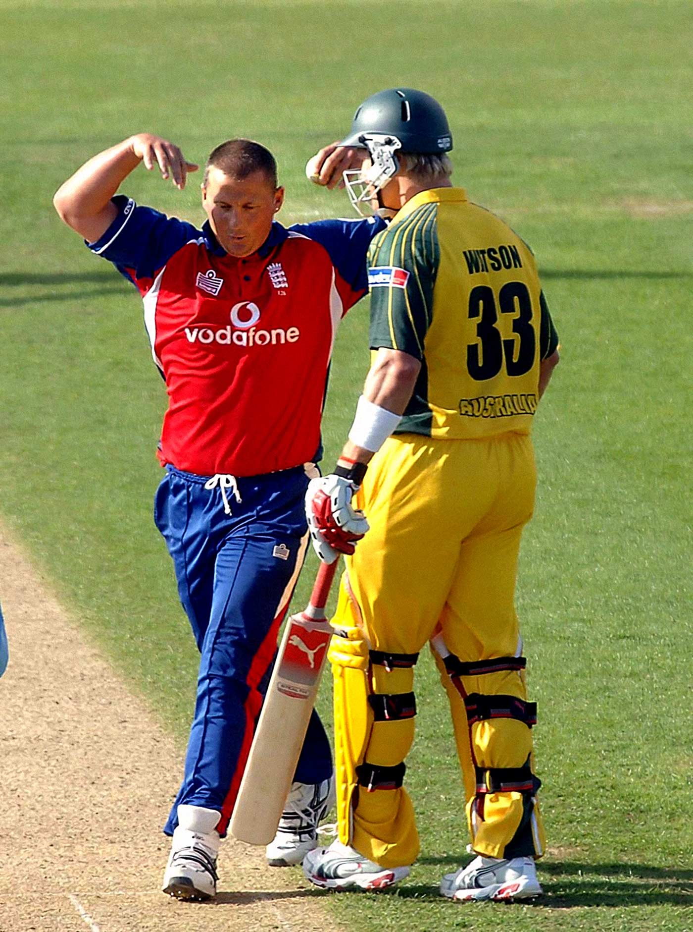 Gough does his ghost impression in Shane Watson's face in the Chester-le-Street ODI in 2005