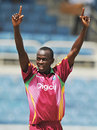 Lionel Baker is delighted after dismissing Rohit Sharma, West Indies v India, 1st ODI, Kingston, June 26, 2009