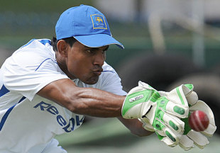 Kaushal Silva practices his wicketkeeping skills, Galle, July 3, 2009