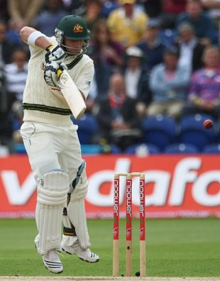 Phillip Hughes edges behind, England v Australia, 1st Test, Cardiff, 2nd day, July 9, 2009
