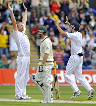 Andrew Flintoff, arms aloft, celebrates the wicket of Phillip Hughes, England v Australia, 1st Test, Cardiff, 2nd day, July 9, 2009