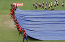 Groundsmen draw the covers as heavy showers disrupt proceedings, West Indies v Bangladesh, 1st Test, St Vincent, 1st day, July 9, 2009