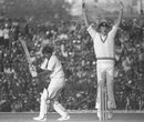 Tony Greig appeals for Parthasarthi Sharma's wicket, India v England, 1st Test, Delhi, 2nd day, December 18, 1976