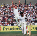 Sunil Gavaskar walks back after being dismissed by Paul Allott for 25
